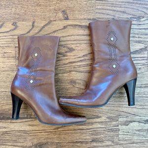 Nine West sw-rhian3y leather mid-calf EUC